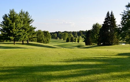 Beautiful Golf Course Evening Vista Stock Photo