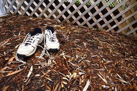 untied: Garden shoes in the mulch Stock Photo