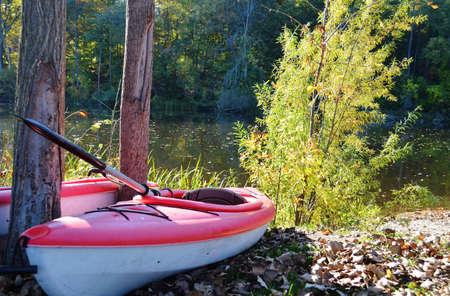 Kayaks on the rivers edge