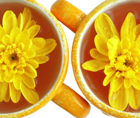 Yellow cups with beverage and  �hrysanthemums over white, isolated