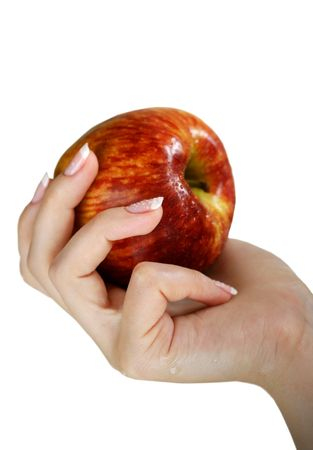 elysium: Apple in a female hand, isolated