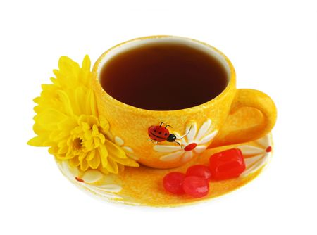 A Cup of tea over white, isolated
