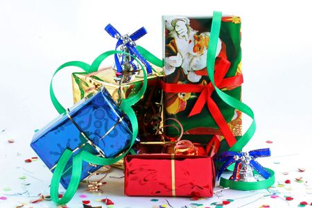 Boxes with gifts in celebratory packing over white Stock Photo