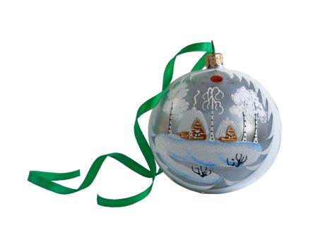 White celebration glass sphere over white, isolated