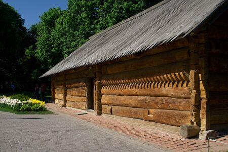 Russian ancient timbered log hut photo