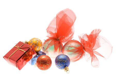 Five traditional Christmas balls isolated on a white background