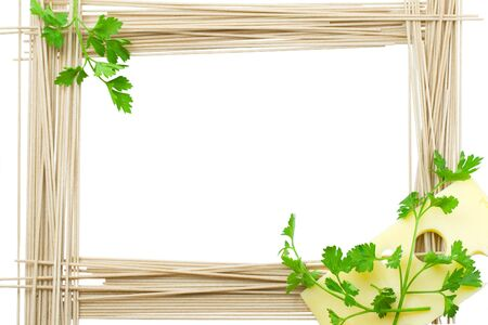 Framework for recipes from a spaghetti, cheese and greens Stock Photo
