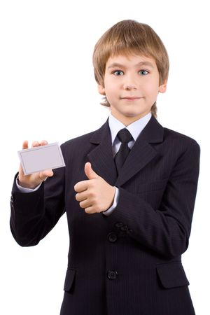 Boy in a business suit with a cup, isolated over white Stock Photo