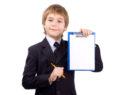 Boy in a business suit with a board for write, isolated over white