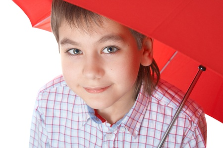 Boy with red umbrella, over white over white isolated over white