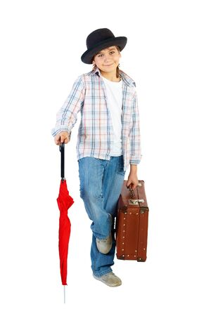 Boy with hat and suitcase, isolated over white