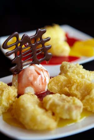 Traditional Japanese dessert fruit in tempura