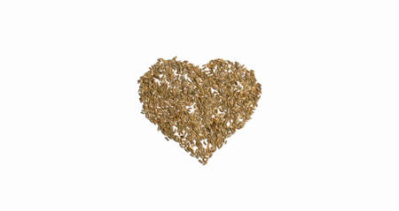 Grains of wheat barley rye oat on white background, natural dry grain in shape of heart in center, wheat grains isolated top view. Free space for text Concept photo love of nature Banner for web site Foto de archivo
