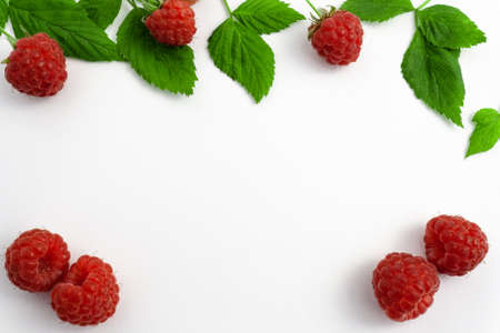 Ripe raspberries isolated on white background close-up. Beautiful red fresh raspberries with leaves along the contour on the table. Top view. Banner for the site. Free space for text in the center