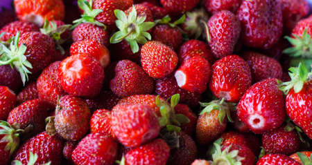 Freshly picked strawberries. Strawberry. Food background. Red ripe strawberry background. Close-up, top view. Strawberry texture macro shot. Beautiful berry, healthy food. 免版税图像