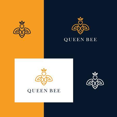 Inspirez le logo de conception d'abeille et de couronne avec un style de conception de ligne simple