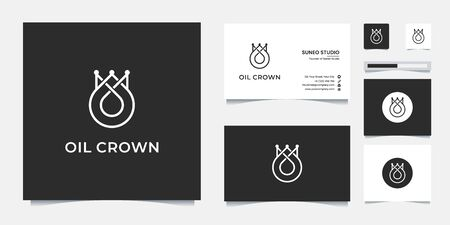 premium oil crown line style  design and business card Stock Illustratie