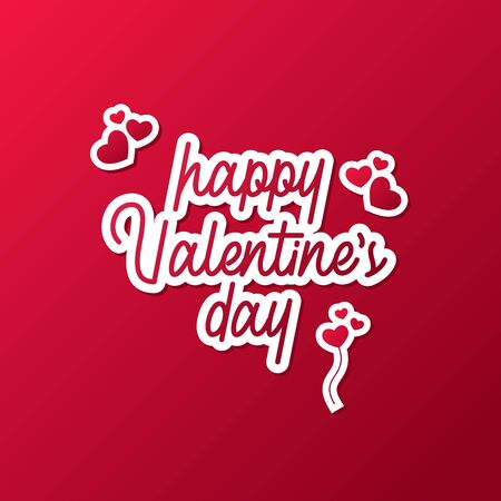 Happy Valentines Day text, typographic poster hand letters on a red gradient background