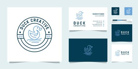 Simple vintage retro duck creative business card and  design vector