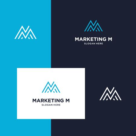 inspiration for design marketing, mountain and initials M