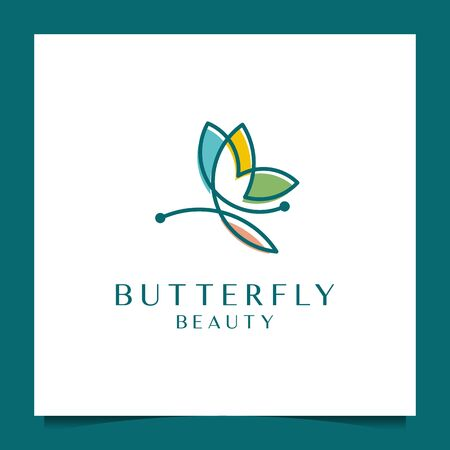 Beautiful butterfly with a simple line design style