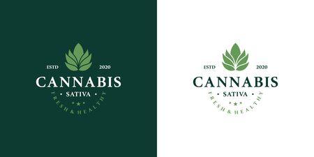 Marijuana health medical cannabis designs vector hemp cbd oil extract green leaf Illustration