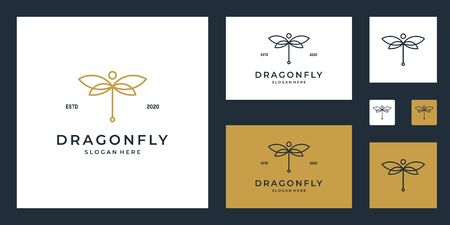 Dragonfly design with line art style