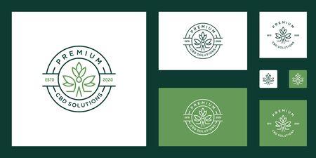 La cannabis medica per la salute della marijuana progetta la foglia verde dell'estratto di olio di canapa cbd vettoriale Vettoriali