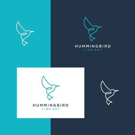 Hummingbird design inspiration with a line style Stock Illustratie
