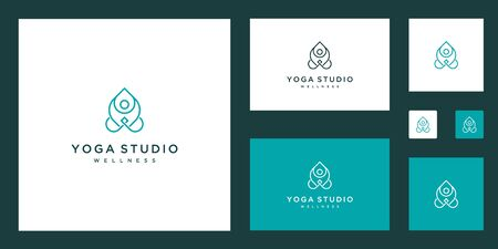 Clean natural and elegant lines symbol inspiring beauty, yoga and spa design logo.