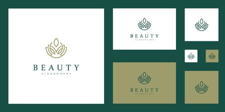 Clean and elegant abstract flowers inspiring beauty, yoga and spa design logos. Stock Illustratie