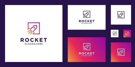 abstract rocket marketing clean lines simple logo design inspiration Stock Illustratie