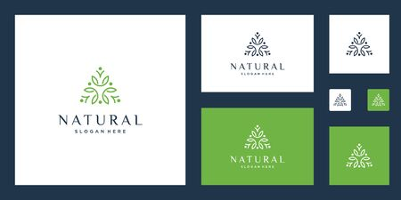 symbol for yoga classes, natural, organic food products and packaging, circles made with leaves and flowers with simple lines