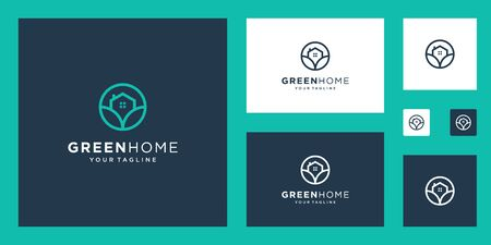 Green House  Real Estate Template. minimalist outline symbol for environmentally friendly buildings.