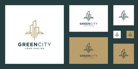 green city  design vector template building. minimalist outline symbol for environmentally friendly buildings.