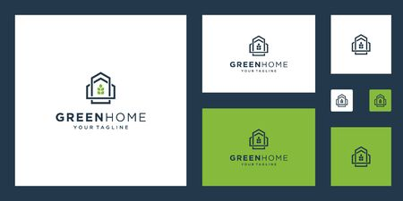 Green House Real Estate Template. minimalist outline symbol for environmentally friendly buildings. Stock Illustratie