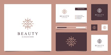 elegant abstract flowers inspiring beauty, yoga and spa. logo design and business card