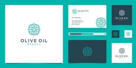 Olive tree and oil logo design and business cards Premium Vector Stock Illustratie