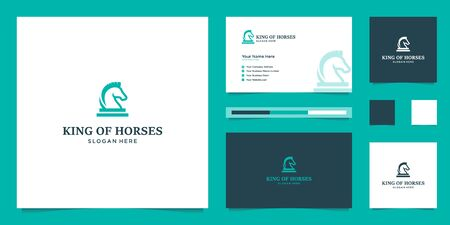 elegant king horse with stylish graphic design and name card inspiration luxury design logo Stock Illustratie