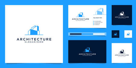 architectural logo design and business card templates. abstract structure of real estate, building, construction, apartment.