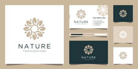 Elegant flower logo design abstract. Can be used for beauty salons, decorations, boutiques, spas, yoga, cosmetic and skin care products. premium business card vector
