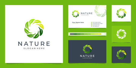 Elegant circle leaf logo design and business card. Can be used for beauty salons, decorations, boutiques, spas, yoga, cosmetic and skin care products.
