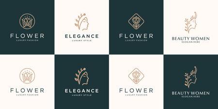 Set collection feminine luxury beauty face women lotus flower and leaf logo design vector
