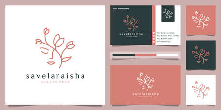 women face with flower logo design and business card. natural women logo for beauty salon, spa, cosmetic, and skin care. luxury feminine template. Logo