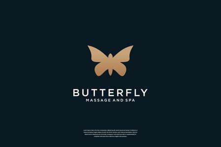 Elegant Butterfly logo design Flat minimalist