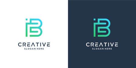 Modern abstract monogram letter B logo design inspiration