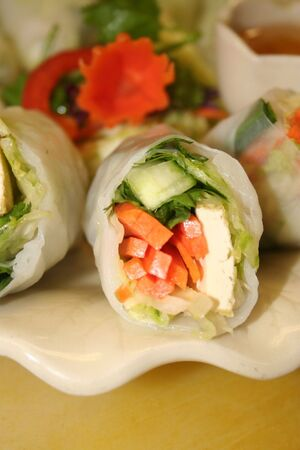 bell peper: Thai fresh roll Stock Photo