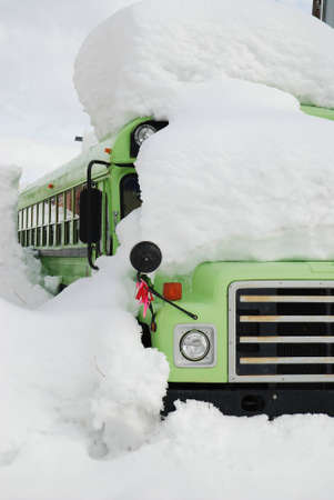 Bus Buried in Deep Snow Drifts After a Storm