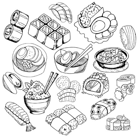 Set of sketches with Japanese food, sushi, rolls, miso soup, rice, black and white contour on white background, hand drawing style, vector illustration Stock Illustratie