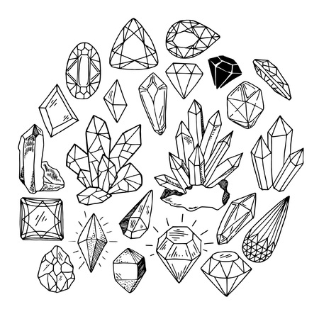 set of sketches with crystals and stones, diamond, black and white contour on white background, hand drawing style, vector illustration Illustration